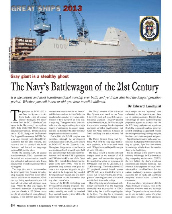 Maritime Reporter Magazine, page 34,  Dec 2013
