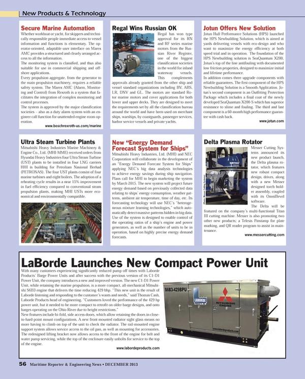 Maritime Reporter Magazine, page 56,  Dec 2013