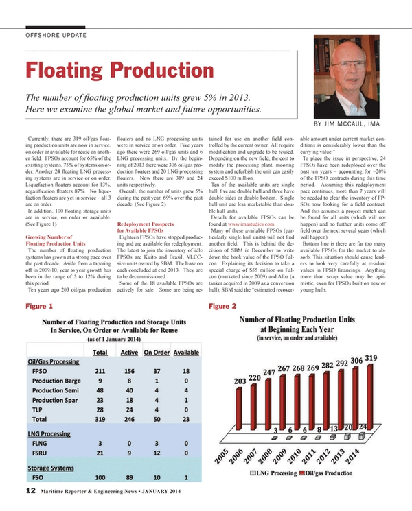 Maritime Reporter Magazine, page 12,  Jan 2014 oil/gas production fl oaters