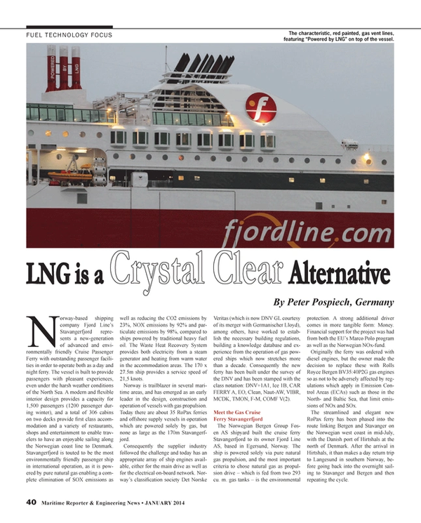 Maritime Reporter Magazine, page 40,  Jan 2014 Norwegian West coast