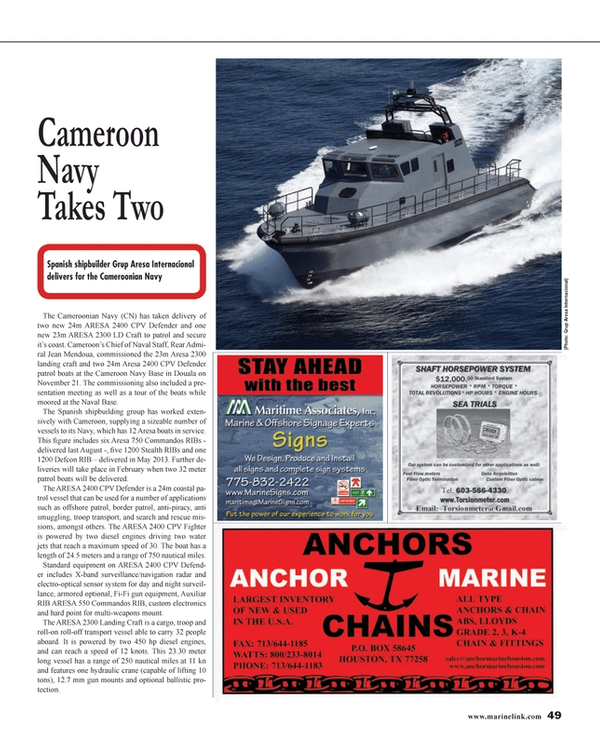 Maritime Reporter Magazine, page 49,  Jan 2014 gun equipment