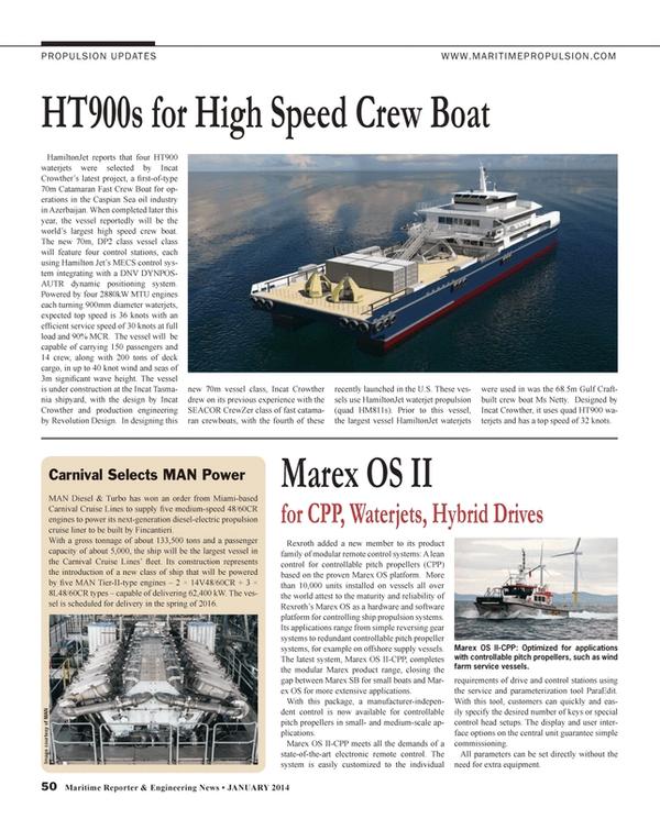 Maritime Reporter Magazine, page 50,  Jan 2014 Caspian Sea
