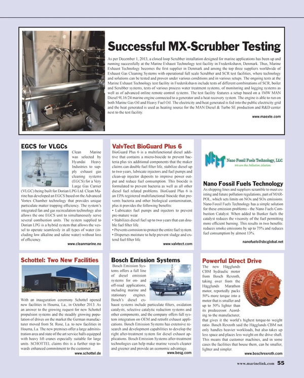 Maritime Reporter Magazine, page 55,  Jan 2014 gas recirculation technology