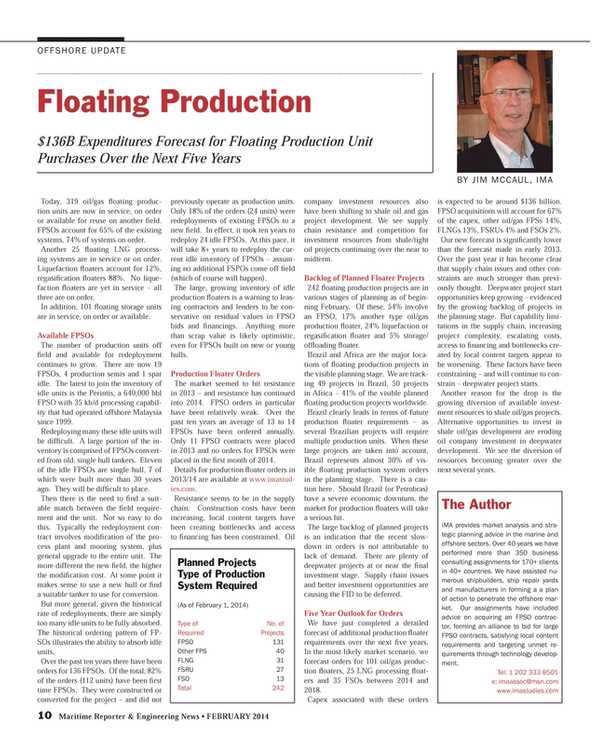 Maritime Reporter Magazine, page 10,  Feb 2014