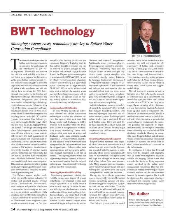 Maritime Reporter Magazine, page 14,  Feb 2014