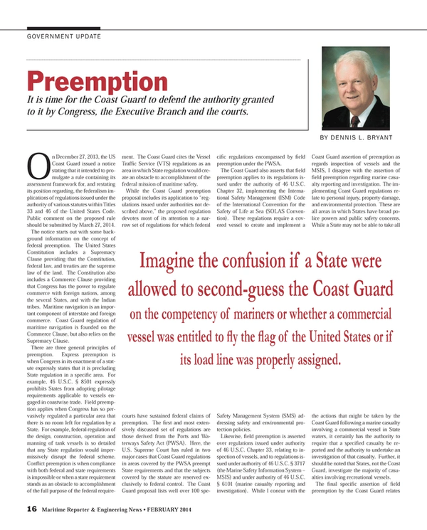 Maritime Reporter Magazine, page 16,  Feb 2014