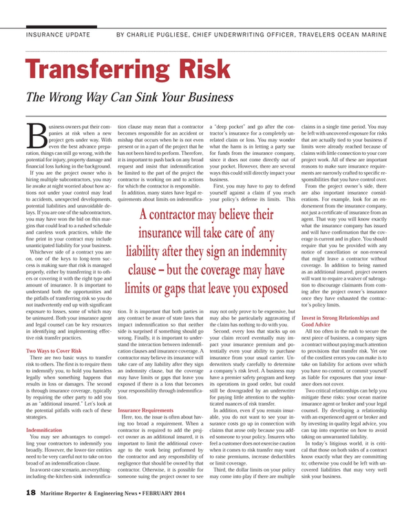 Maritime Reporter Magazine, page 18,  Feb 2014