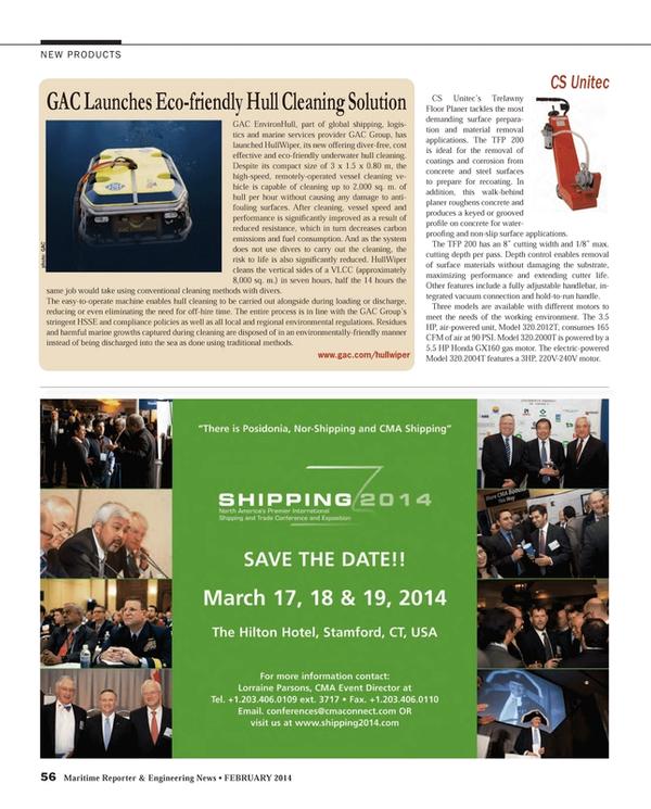 Maritime Reporter Magazine, page 56,  Feb 2014