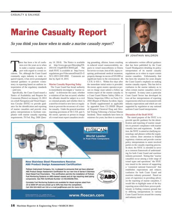 Maritime Reporter Magazine, page 16,  Mar 2014 Jonathan Waldron