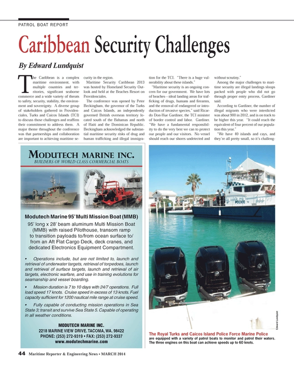 Maritime Reporter Magazine, page 44,  Mar 2014 Royal Turks and Caicos Island Police Force Marine Police