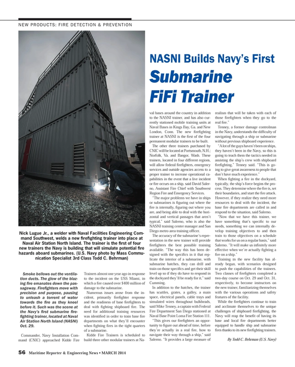 Maritime Reporter Magazine, page 56,  Mar 2014 Washington