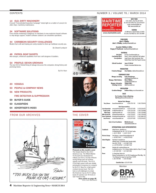 Maritime Reporter Magazine, page 4,  Mar 2014