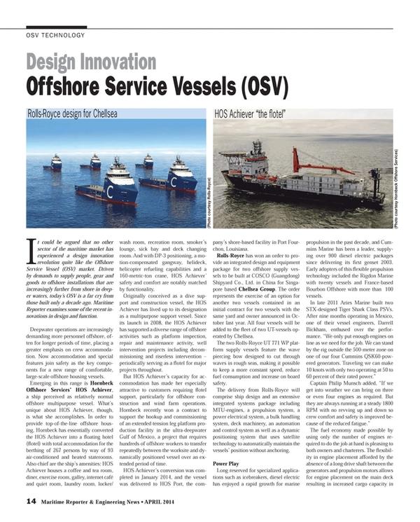 Maritime Reporter Magazine, page 14,  Apr 2014 MTU