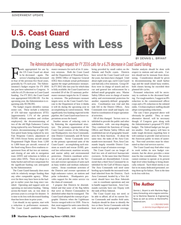 Maritime Reporter Magazine, page 18,  Apr 2014 Doing Less