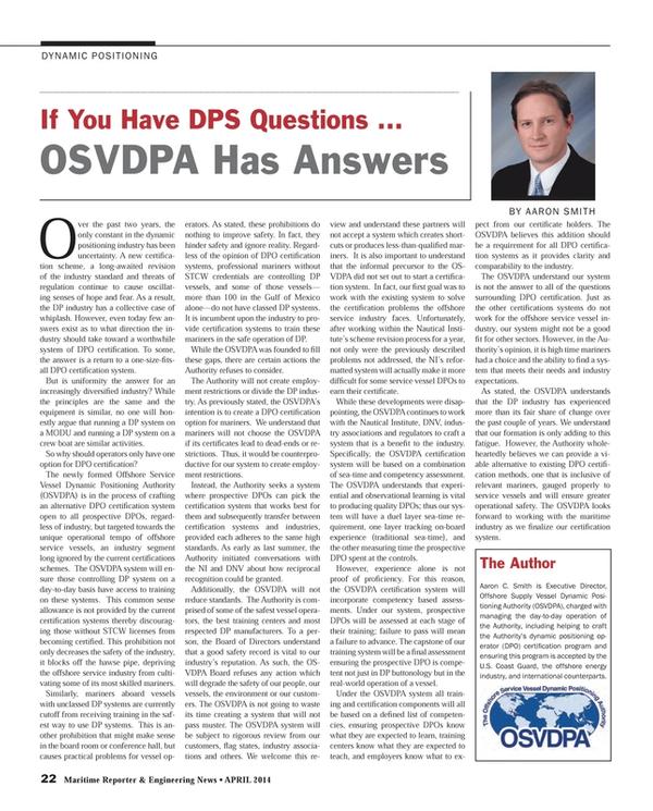 Maritime Reporter Magazine, page 22,  Apr 2014