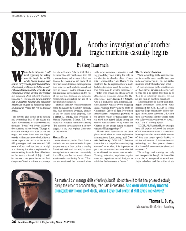 Maritime Reporter Magazine, page 26,  May 2014
