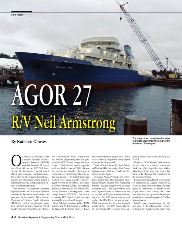Maritime Reporter Magazine, page 40,  May 2014 Massachusetts
