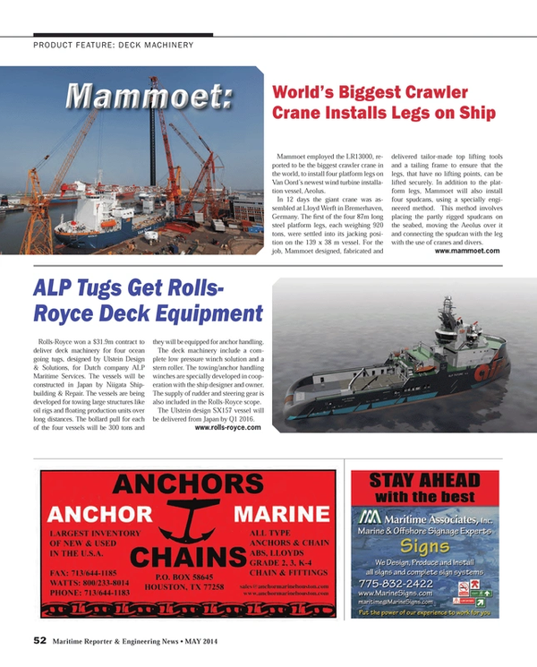 Maritime Reporter Magazine, page 52,  May 2014