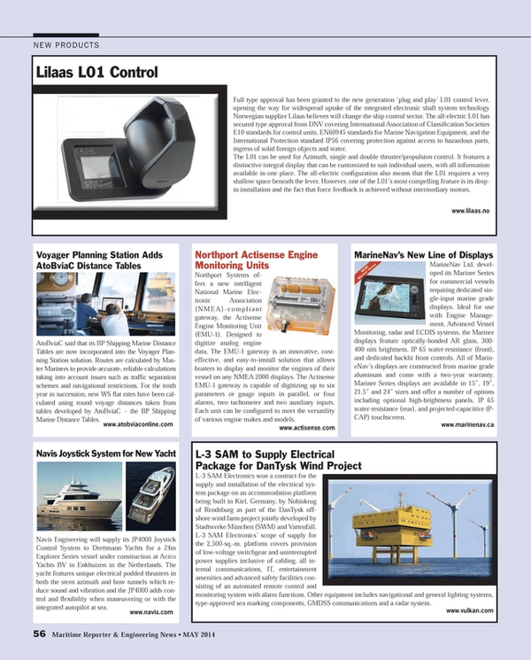 Maritime Reporter Magazine, page 56,  May 2014 L01