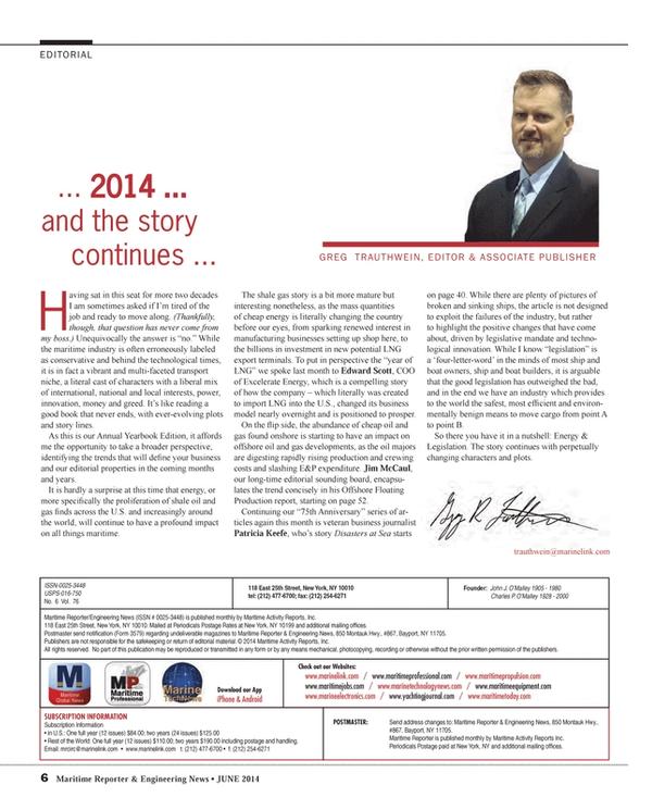 Maritime Reporter Magazine, page 6,  Jun 2014 Greg Trauthwein