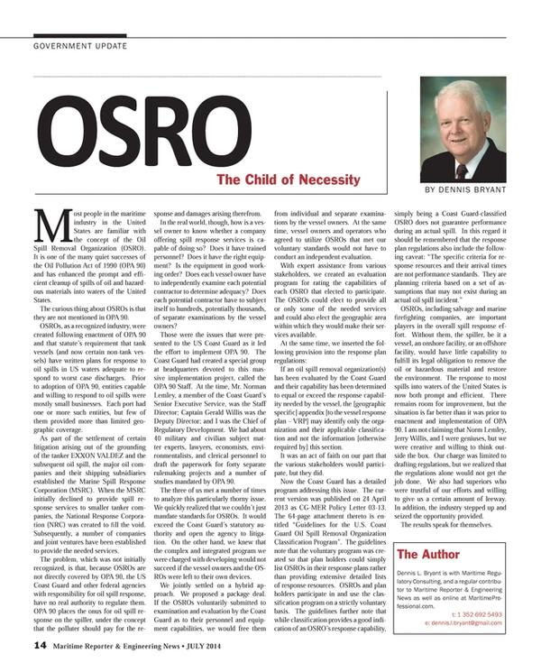 Maritime Reporter Magazine, page 14,  Jul 2014
