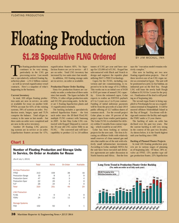 Maritime Reporter Magazine, page 38,  Jul 2014 Floating Production and Storage Units In Service