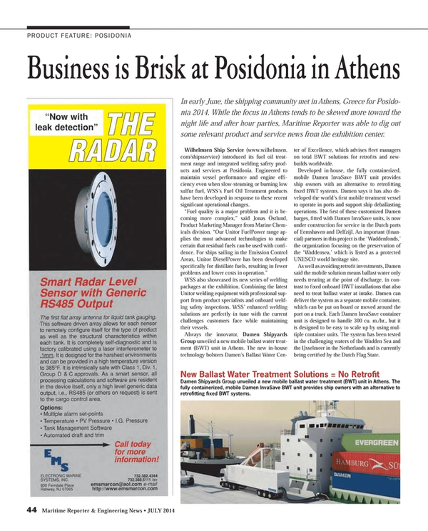 Maritime Reporter Magazine, page 44,  Jul 2014 Fuel Oil Treatment