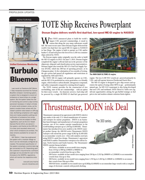 Maritime Reporter Magazine, page 50,  Jul 2014