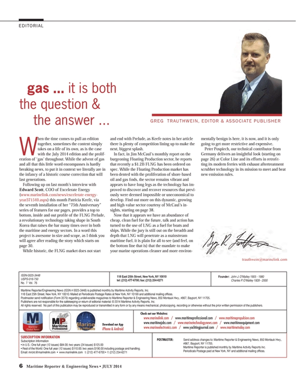 Maritime Reporter Magazine, page 6,  Jul 2014 Edward Scott