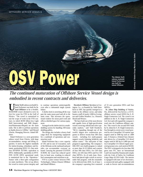 Maritime Reporter Magazine, page 14,  Aug 2014