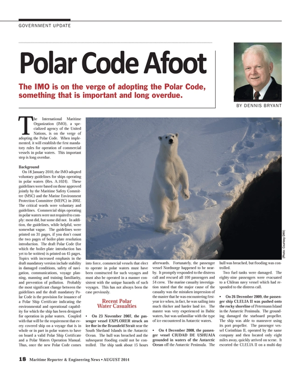 Maritime Reporter Magazine, page 18,  Aug 2014