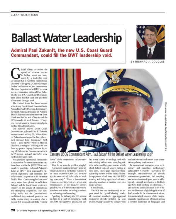 Maritime Reporter Magazine, page 28,  Aug 2014
