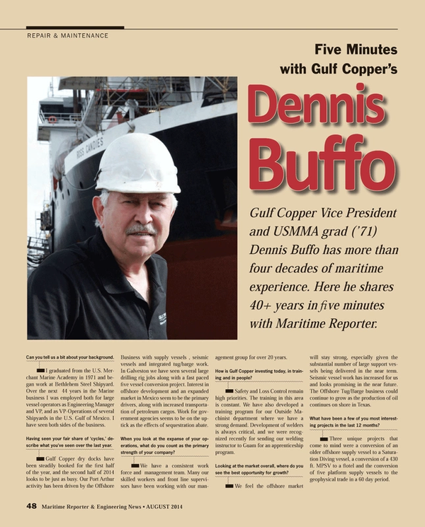Maritime Reporter Magazine, page 48,  Aug 2014
