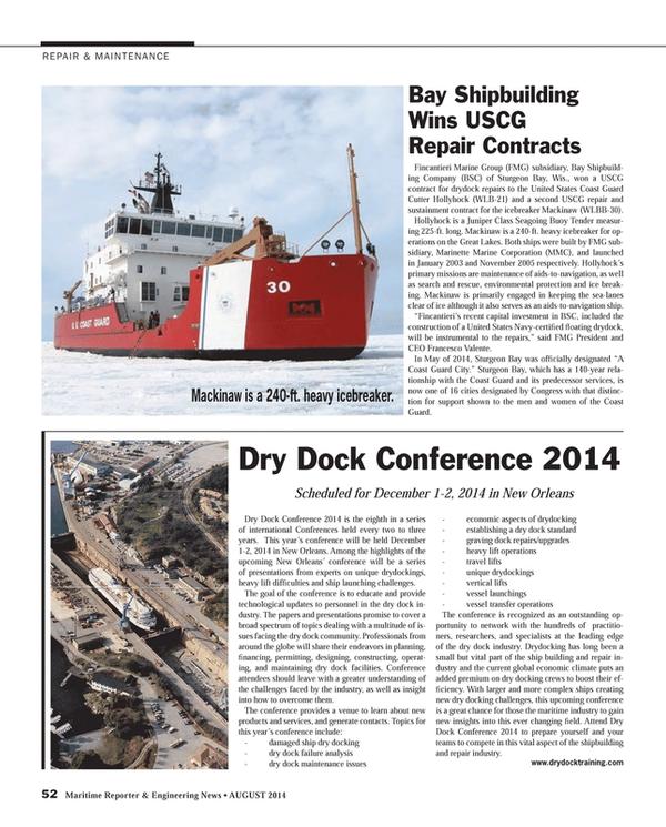 Maritime Reporter Magazine, page 52,  Aug 2014