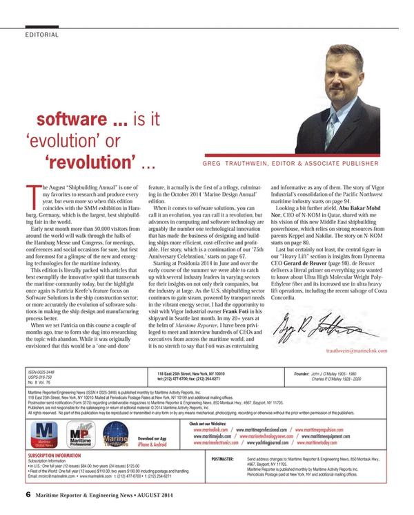 Maritime Reporter Magazine, page 6,  Aug 2014