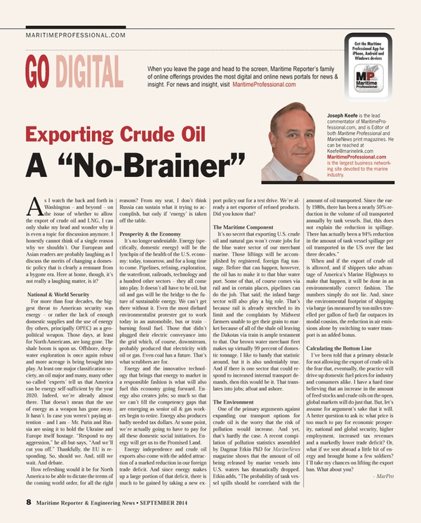 Maritime Reporter Magazine, page 8,  Sep 2014