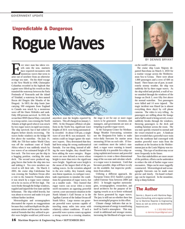 Maritime Reporter Magazine, page 16,  Sep 2014