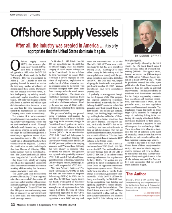 Maritime Reporter Magazine, page 22,  Oct 2014