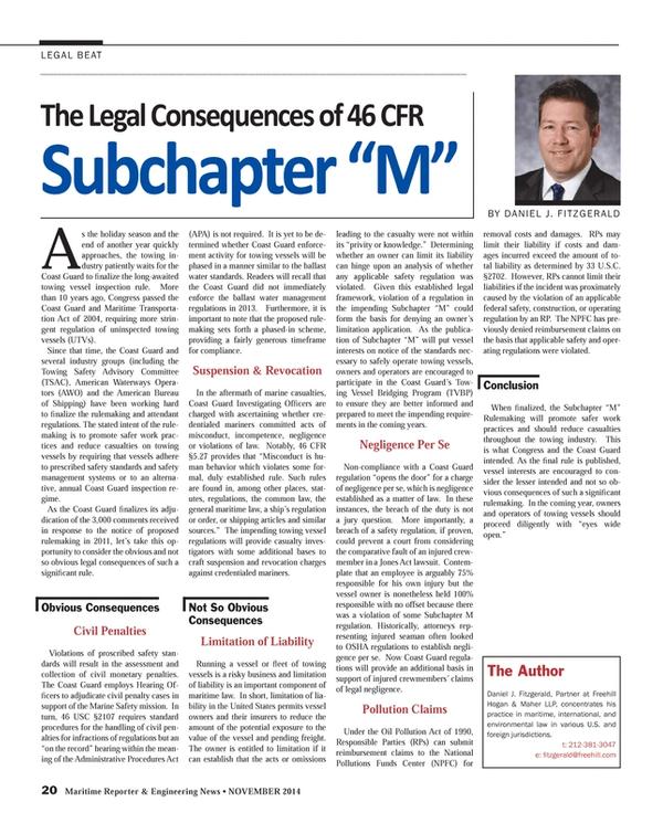 Maritime Reporter Magazine, page 20,  Nov 2014