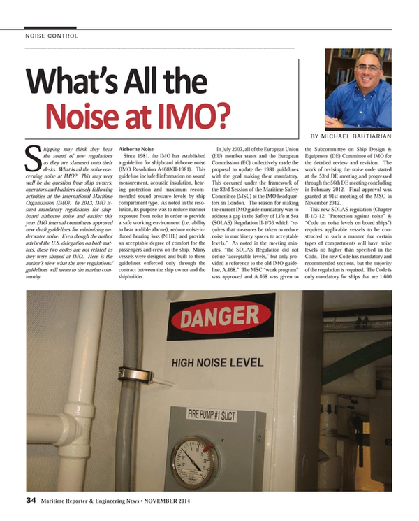 Maritime Reporter Magazine, page 34,  Nov 2014