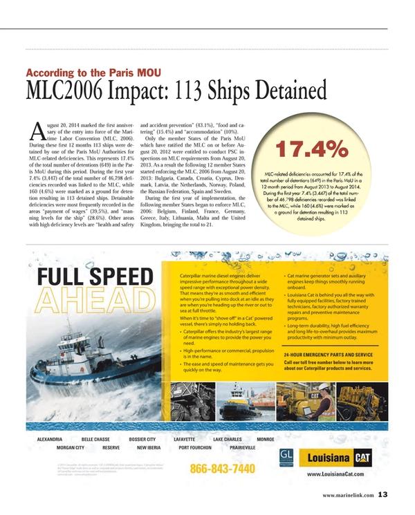 Maritime Reporter Magazine, page 13,  Dec 2014