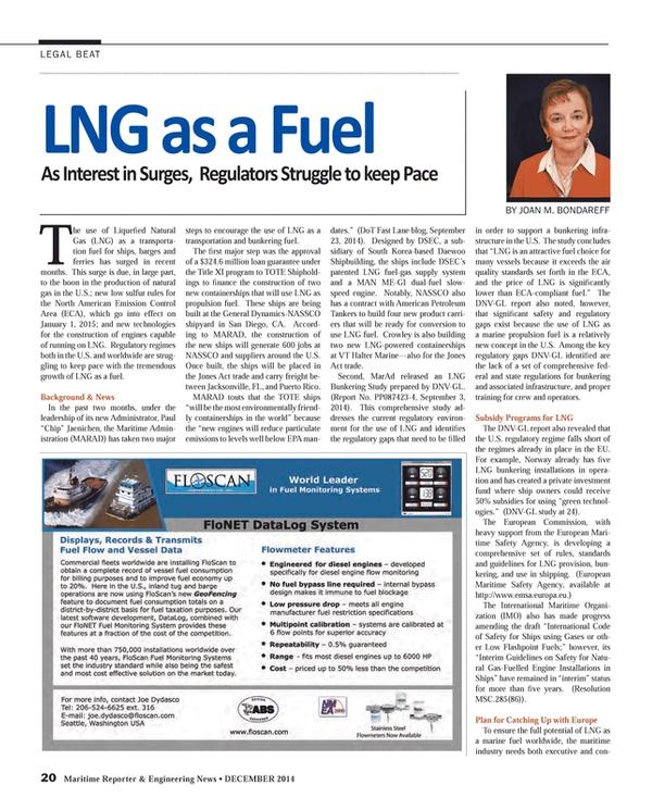 Maritime Reporter Magazine, page 20,  Dec 2014