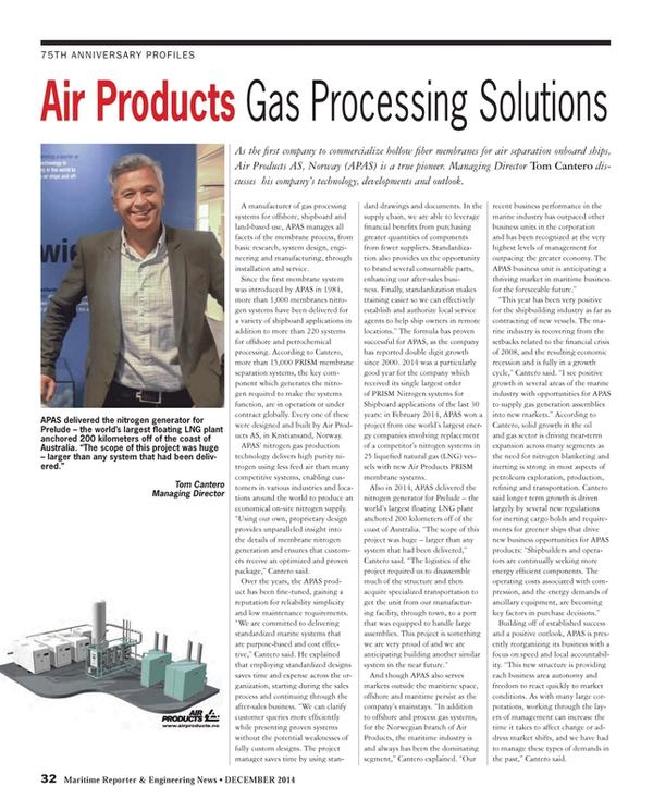 Maritime Reporter Magazine, page 32,  Dec 2014