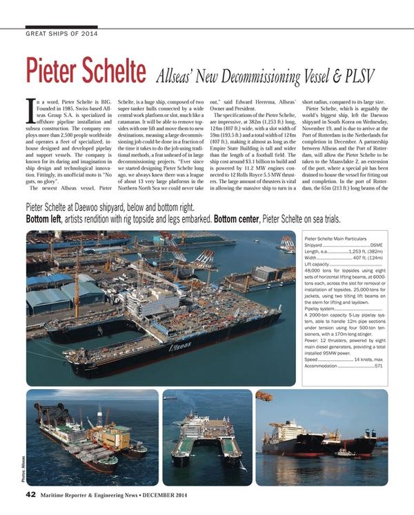 Maritime Reporter Magazine, page 42,  Dec 2014