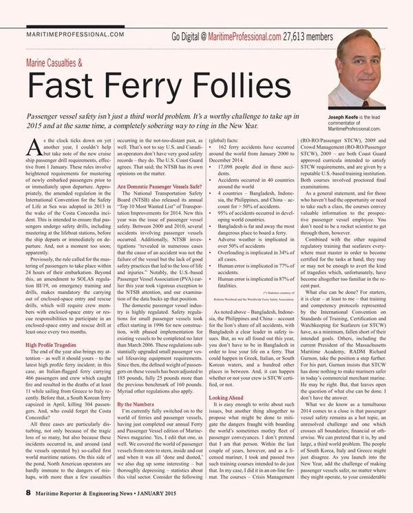 Maritime Reporter Magazine, page 8,  Jan 2015