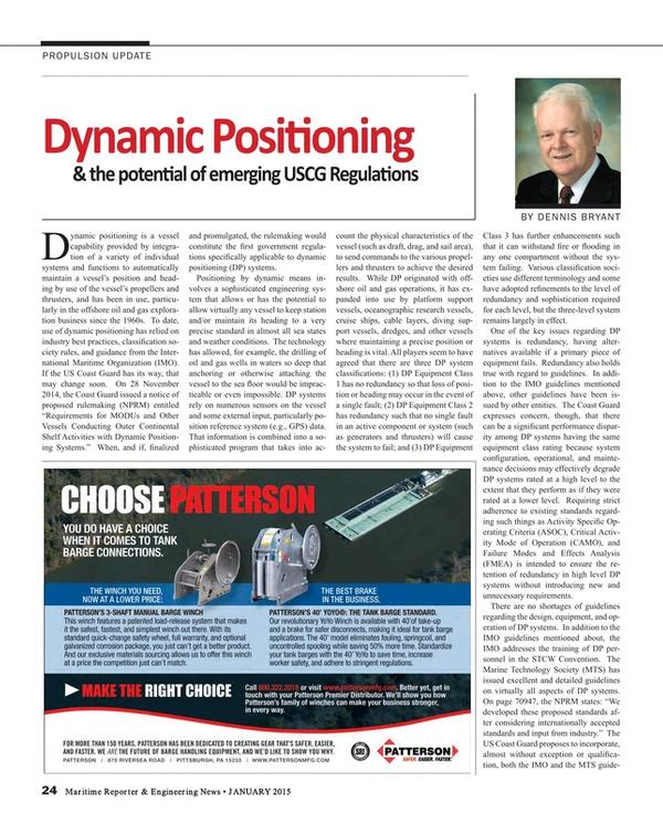 Maritime Reporter Magazine, page 24,  Jan 2015