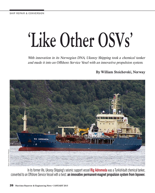 Maritime Reporter Magazine, page 26,  Jan 2015
