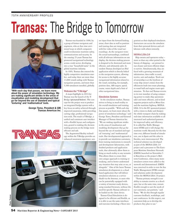 Maritime Reporter Magazine, page 54,  Jan 2015
