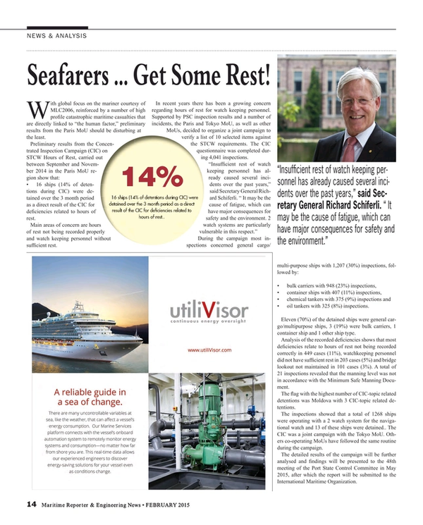 Maritime Reporter Magazine, page 14,  Feb 2015