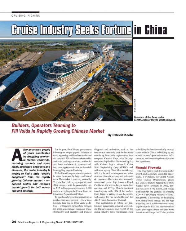Maritime Reporter Magazine, page 24,  Feb 2015
